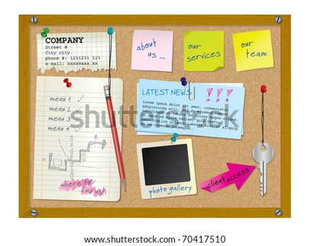 stock vector : Website design template - cork board with notes - vector illustration