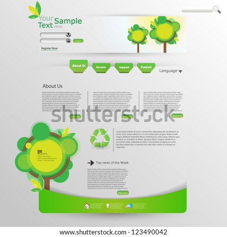 Website Design Template Ecological Theme
