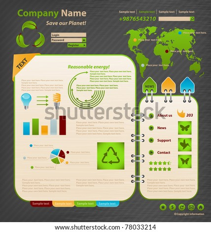 Website Design Template. Ecology theme. - stock vector