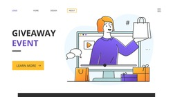 Website design template for a female Social Media Influencer doing a giveaway event or promotion with gifts and handbag with copyspace alongside, colored minimal style vector illustration