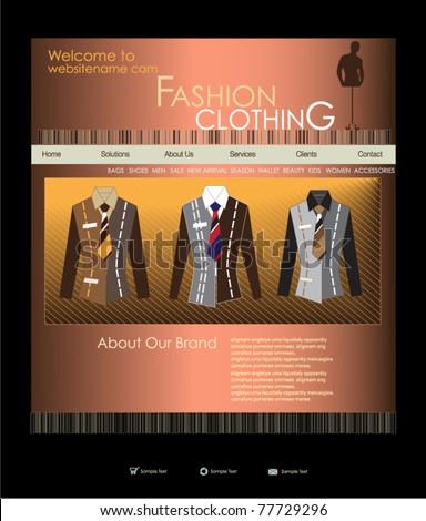 Website design template for men's wear. Vector illustration.