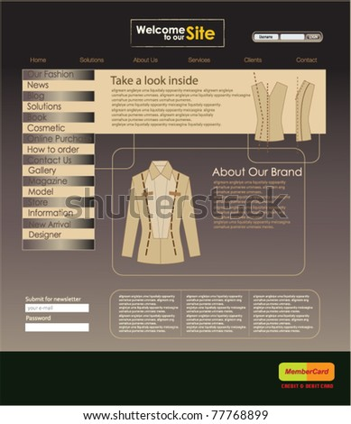 Website design template for personal portfolio - perfect for professional photographers and fashion designers. Vector illustration.