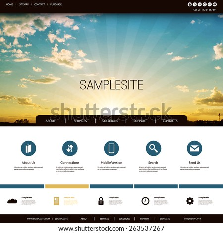 Website Design Template for Your Business with Sunset Photo Background - Clouds, Sun, Sun Rays