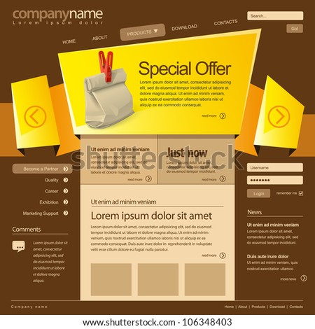 Website design template 960 Grid, vector.