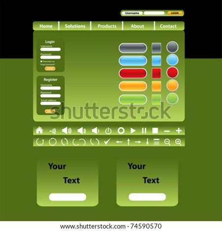 Website design template in green tones