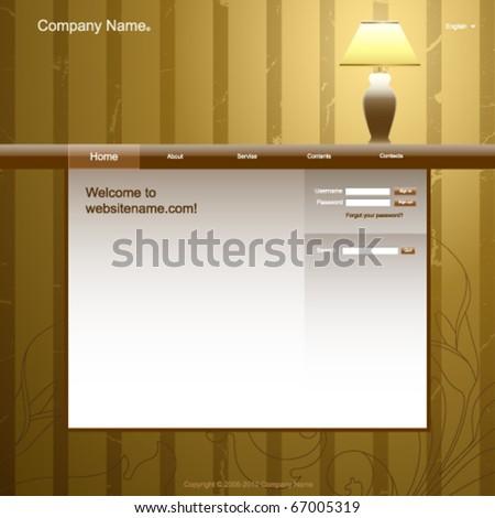 Website design template vintage room interior stock Room design template