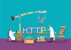 Website Development team or IT professionals working concept. EPS10 vector. Editable Clip Art.