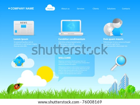 Website eco friendly business / cartoon stylish template. Ready to use webpage with logo, navigation, icons, buttons and other interface elements. Unique icons, unified style