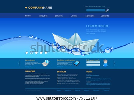Website editable template: Origami paper boat in the water Uni themes: business concept, insurance, innovations, technology, services etc.