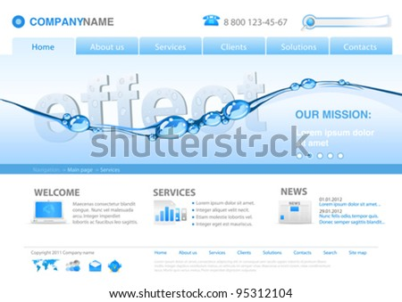 Website editable template: Put your own object in the water Uni themes: business concept, insurance, innovations, technology, ecology, etc.