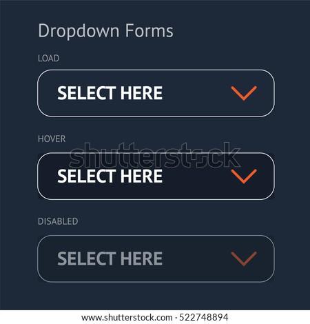 Website element. Drop down forms. Dark background.