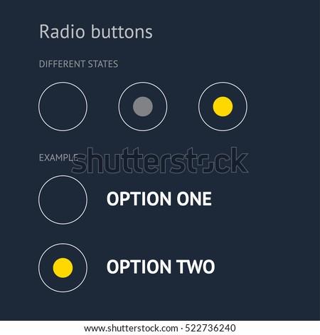 Website elements. Radio buttons. Dark background.