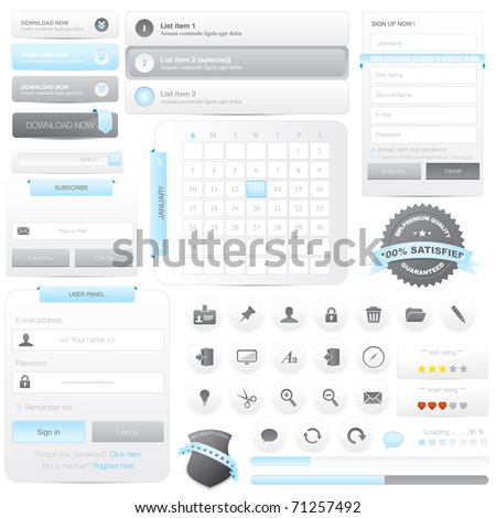 Website frame elements pack with icons set