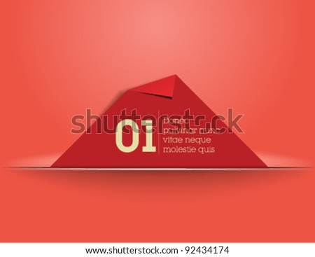 Website, graphic design, red memory card in cut paper - red background
