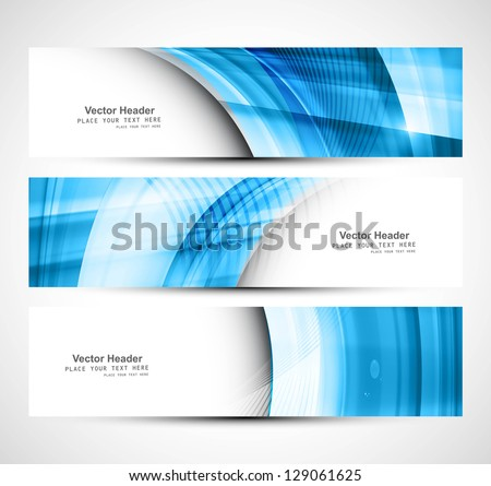 Header colorful blue wave banner set vector design stock vector