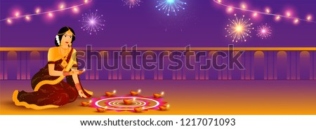 Website header or banner design for Diwali Festival, young woman decorate illuminated oil lamps on purple background.