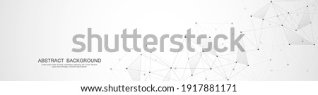 Website header or banner design with abstract polygonal background and connecting dots and lines. Global network connection. Digital technology with plexus background and space for your text
