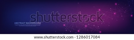 Website header or banner design with geometric abstract background of connected dots and lines. Vector illustration with plexus background and space for your text