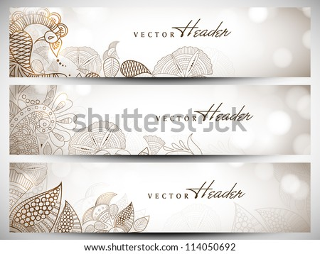 Website header or banner set with beautiful floral design. EPS 10.
