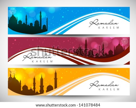 Website header or banner set with view of mosque on shiny waves for Ramadan Kareem.