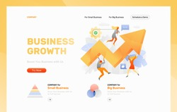 Website header template with big metaphoric arrow surrounded by tiny people characters, cogwheels and leaves. Vector illustration concepts for web and app development