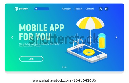 Website header with banner for mobile application, mobile application for freelancer, rest and work