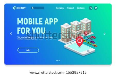 Website header with banner for mobile application, mobile application for travel, car rental