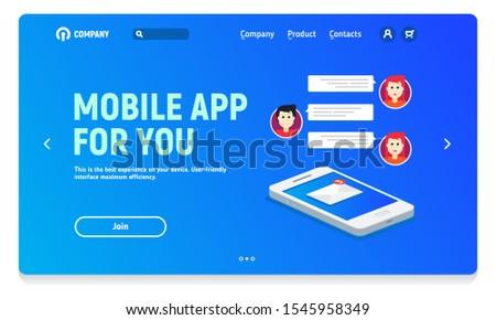 Website header with banner for mobile application, mobile application for work chat or communication