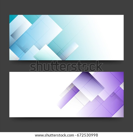 Website headers or banners set with abstract geometric elements in sky blue and purple colors. #672530998