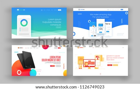 Website Hero Image or Landing Pages Set.