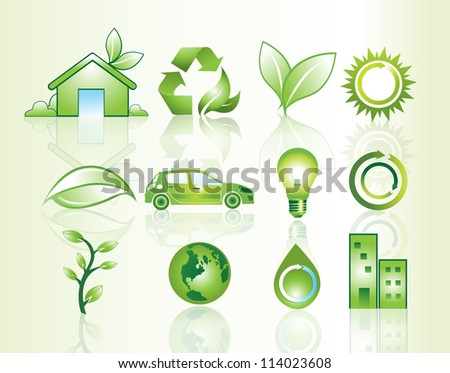 Website icons with environmental theme, vector illustration - stock vector
