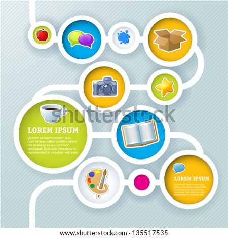 Website infographic sequence template, Vector design frame.