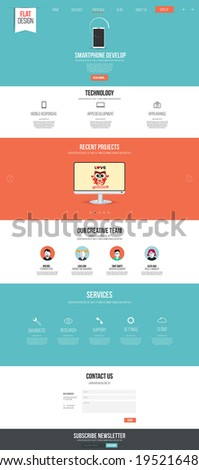Website interface template- one page Modern flat style Vector