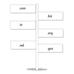 Website Internet Domain Names Signpost. Various internet domain names in black and white road sign.