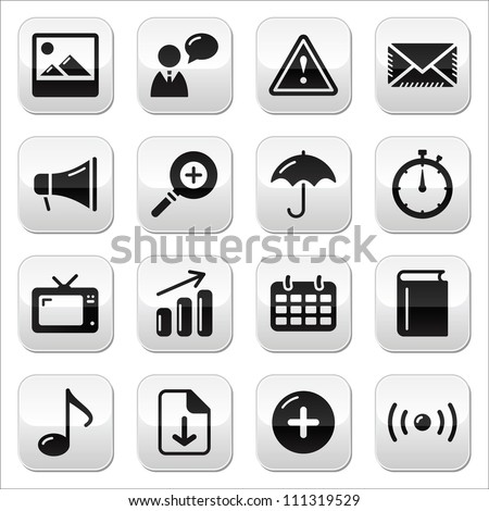 Website internet glossy sqaure buttons set