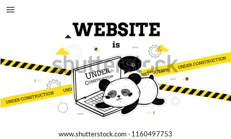 Website is under construction.  Design concept of maintenance page or 404 error. Vector template with panda bear and laptop. Design for websites.