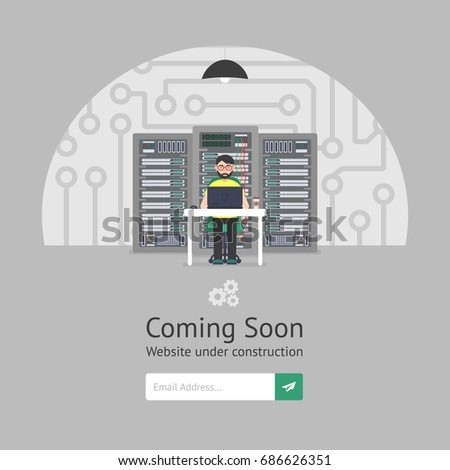 Website is under reconstruction. Male system administrator. Website Template. Coming Soon. Vector illustration. Flat style.
