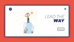 Website Landing Page. Success Businessman Standing Proudly On Platform In Top Position Holding Flag. Character Has Reached Success. Web Page Cartoon Linear Outline Flat Style. Vector Illustration
