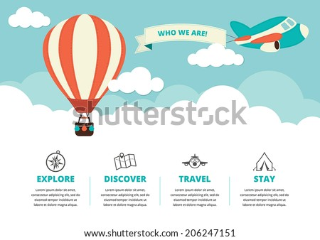 Website layout with a hot air balloon, a plane and travel icons