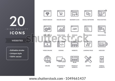 Website line icons. Web pages and sites icon set with editable stroke
