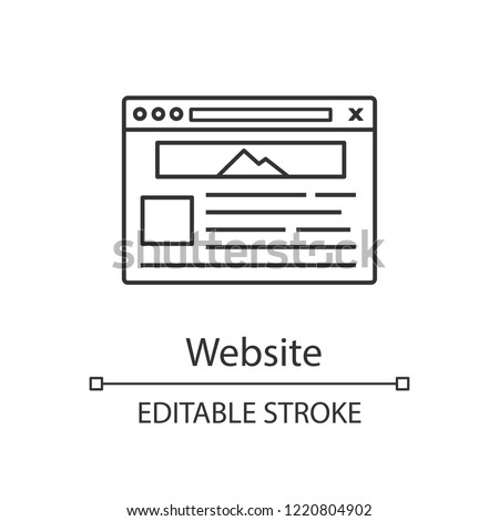 Website linear icon. Web page. Web browser interface. Thin line illustration. Internet marketing. Social media, internet shop webpage template. Website design. Vector isolated drawing. Editable stroke