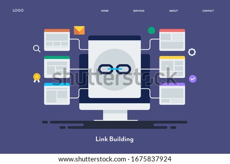 Website link building, Link building strategy, SEO Backlinks - conceptual vector illustration with icons, landing page template