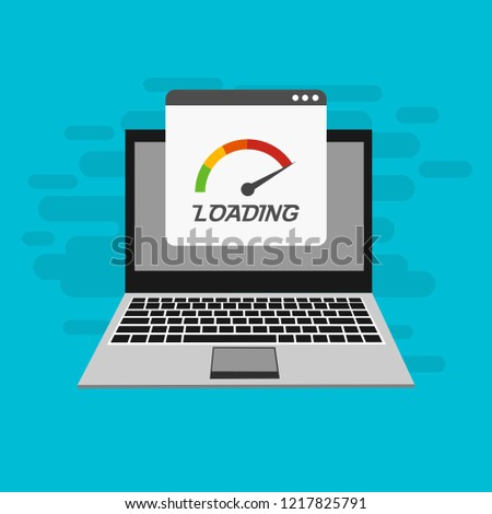 Website loading speed, Server speed, page speed test flat design vector illustration