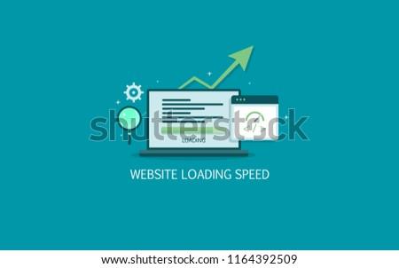 Website loading speed, Server speed, page speed test flat design vector illustration on green background