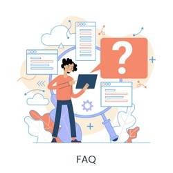 Website menu help concept. Online guides. Support landing page sections. Frequently asked Questions. Metaphor contact us. Help user interface. Customer assistance user interface elements. Graphic elem