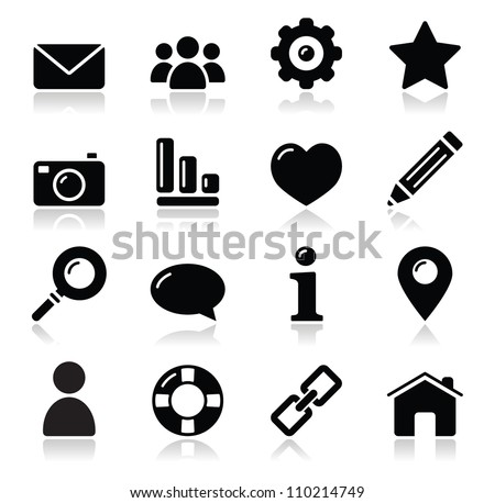 Website menu navigation black shiny icons - home, search, email, gallery, help, blog icons