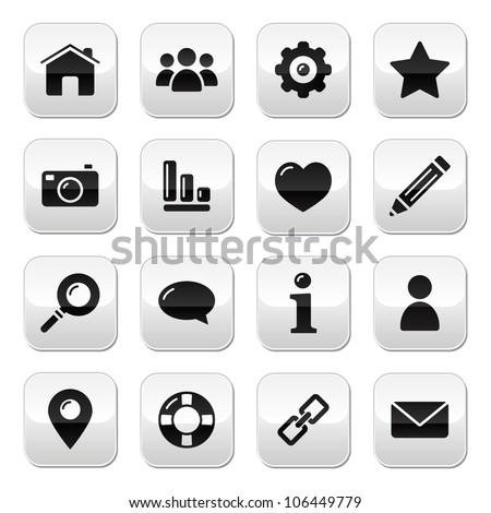 Website menu navigation buttons - home, search, email, gallery, help, blog icons