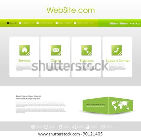 website menu template with icons set ez canvas
