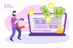 Website monetization concept, vector illustration, earn money online. Blog content and generating income with ad placements and sponsor partnerships. Influencer business and creative content producing