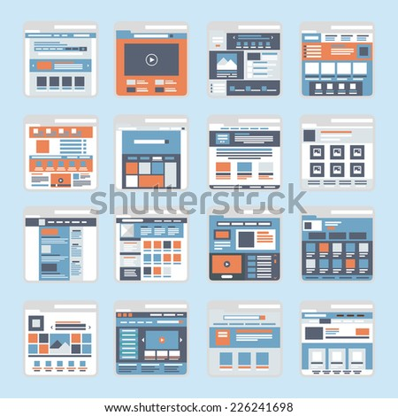 Website online shopping interface windows vector. Flat style modern elements web site click banner icon ui ux elements.
